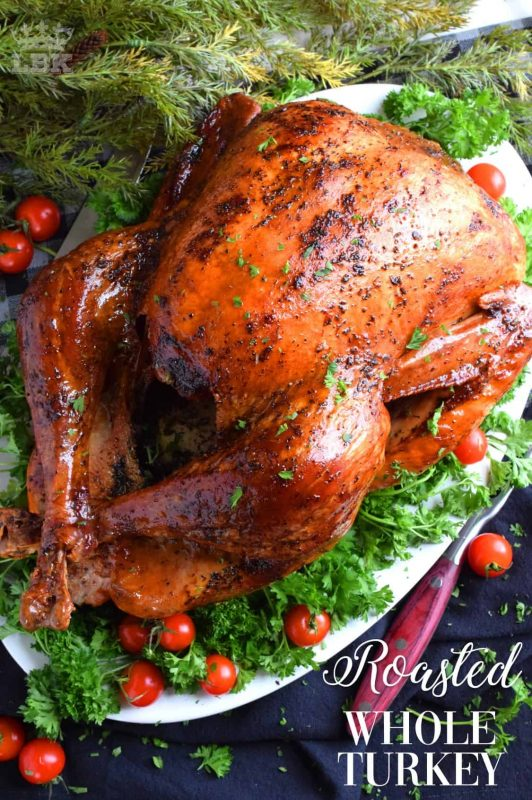 Roasted Whole Turkey - Roasting a turkey does not need to be complicated.  For a super moist and delicious turkey, you only need 5 ingredients and a little patience!#turkey #roasted #basic #whole #how