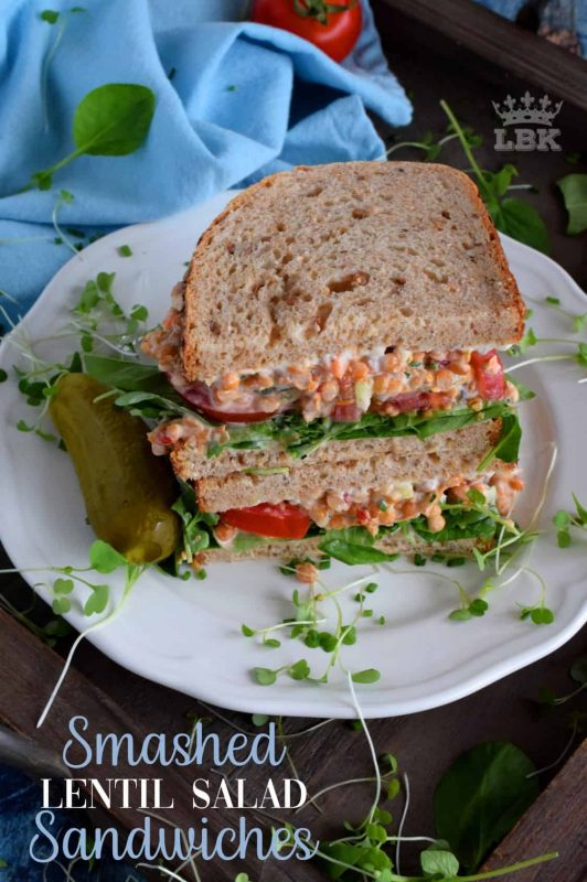 A delicious alternative to a deli meat sandwich, this vegetarian Smashed Lentil Salad delight is made with canned lentils and a bunch of healthy fixings!#vegetarian #sandwich #lentils #salad #smashed