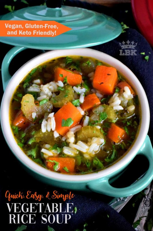 Vegetable Rice Soup - A basic and homey dish made with inexpensive ingredients; this soup is sure to make you feel all warm and cozy inside!#vegetable #rice #soup #vegetarian #fightcold