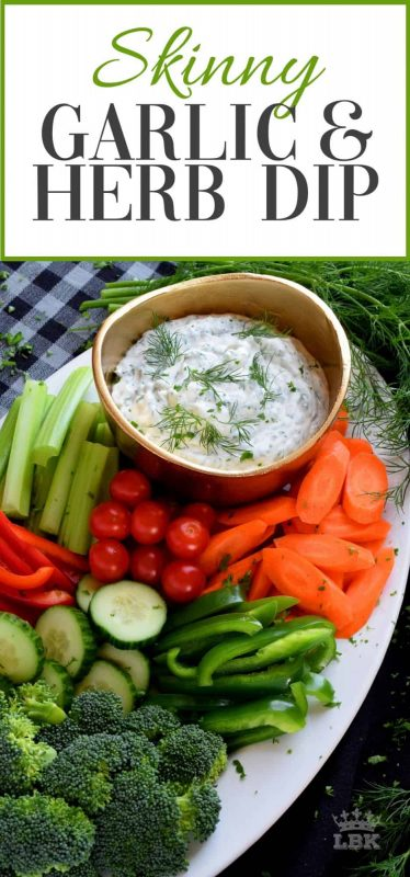 Looking for a delicious, quick, and easy dip?  Look no further!  You can eat this Skinny Garlic and Herb Dip all day and not worry about your waistline!#dip #WW #zero #points #skinny