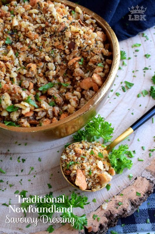 Traditional Newfoundland Savoury Dressing - Loved throughout Newfoundland, this traditional baked dressing uses pure savoury to transform a bread stuffing into something extraordinarily tasty!#newfoundland #recipes #stuffing #dressing #traditional