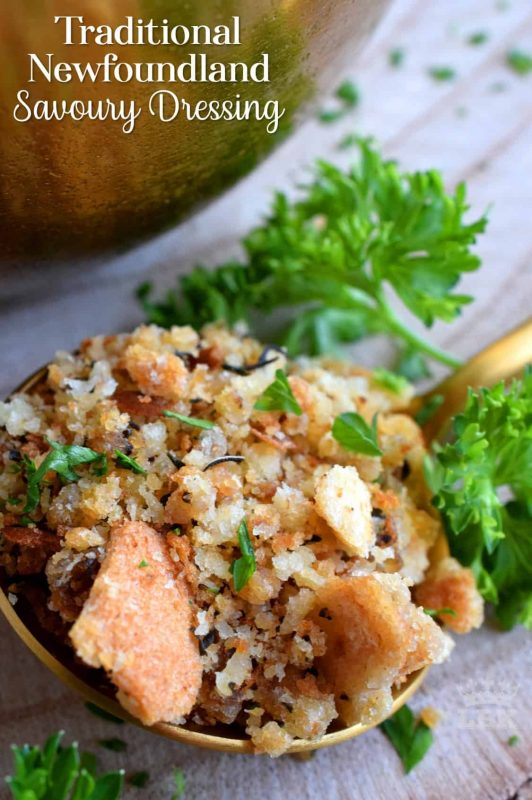 Loved throughout Newfoundland, this traditional baked dressing uses pure savoury to transform a bread stuffing into something extraordinarily tasty!#newfoundland #recipes #stuffing #dressing #traditional