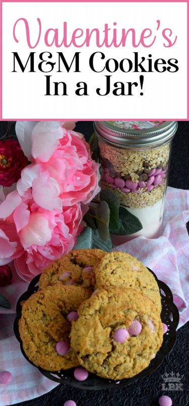 Jars packed with the ingredients needed to prepare a homemade recipe is a great gift idea! Show how much you care with Valentine M&M Cookies in a Jar!#cookies #mason #jar #recipes #valentines