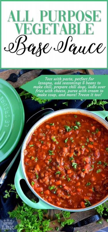 All Purpose Vegetable Base Sauce - Every home cook should have a stash of base sauce that can quickly bring a meal together with very little time and effort. Make this sauce your weekend food prep project! #sauce #vegetarian #tomato #freezer