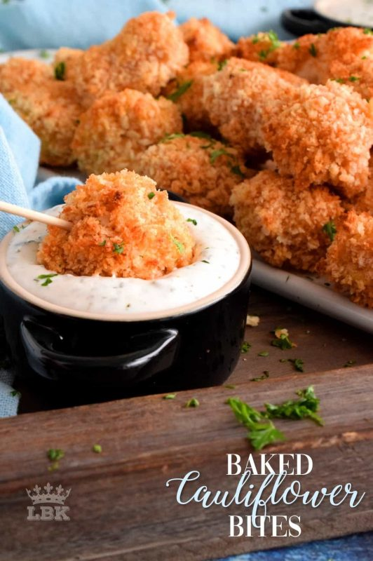 A healthier choice, but one with an indulgent flavour, Baked Cauliflower Bites have crunch, heat, and spice.  They're an appetizer everyone will devour!#cauliflower #baked #bites #nuggets #spicy
