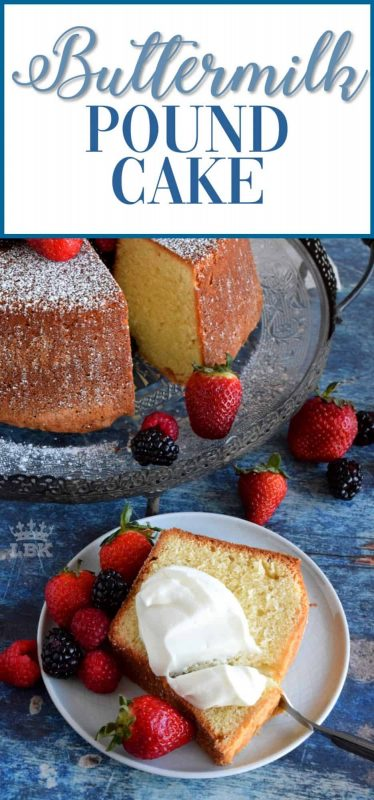 An impressive Buttermilk Pound Cake that needs nothing more than a dusting of sugar, some fresh fruit, and a little whipped cream - perfection! #buttermilk #dessert #pound #cake