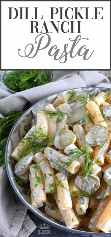 The flavours of dill pickle and ranch together are a perfect match.  Tossed with pasta and extra pickles, you've got a dish every pickle lover will want again and again!#dill #pickle #ranch #pasta #salad