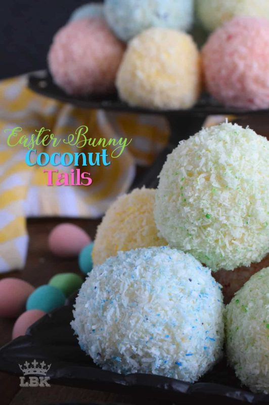 As tasty as they are pretty, Easter Bunny Coconut Tails are a no-bake, easy, kid-friendly recipe! They will love dying the coconut those pastel colours!#easter #bunny #balls #tail #cookies #pastel #nobake