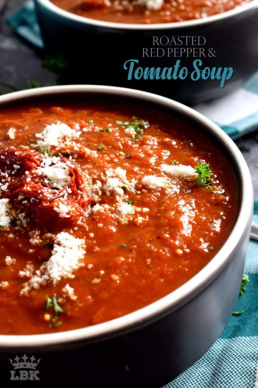 Roasting vegetables intensifies flavour, and it's evident in this Roasted Red Pepper and Tomato Soup!  Super thick and hearty; easy and delicious too!#roasted #red #peppers #tomato #soup