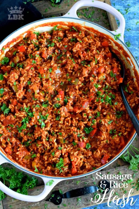 Warm and hearty, Sausage and Rice Hash is a complete and nutritious meal! This one pan dish combines sausage with tomatoes, onions, rice, and seasonings.#skillet #one #pot #sausage #hash