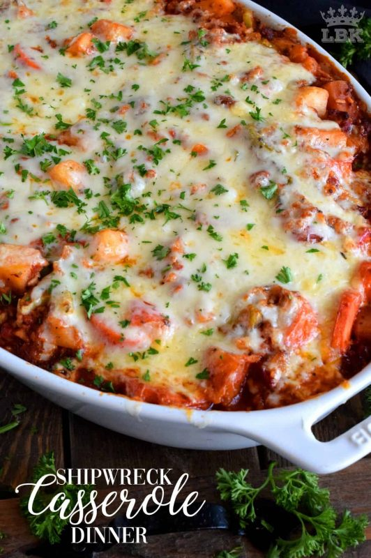 Shipwreck Casserole Dinner - A blast from the past recipe that will fill your belly and comfort all of your food cravings; Shipwreck Casserole Dinner is equally delicious and easy!#casserole #shipwreck #seven #layer #dinner