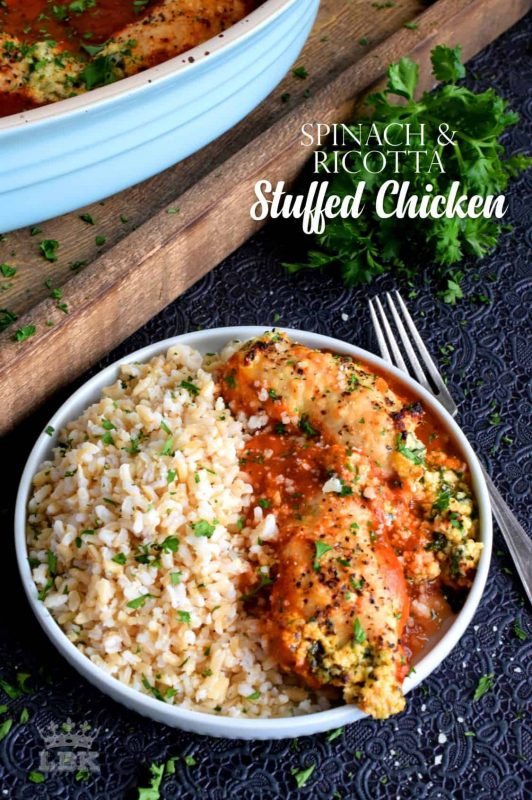 Tender boneless and skinless chicken thighs stuffed with spinach and ricotta cheese, and then baked to golden perfection in a simple marinara sauce.#chicken #thighs #stuffed #boneless #skinless