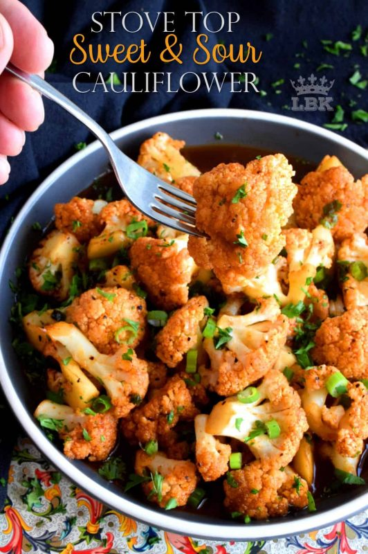 Tender florets cooked in a homemade sauce, Sweet and Sour Cauliflower is a great tasting side dish that's both quick and easy to make.#cauliflower #sweet #sour #sauce #skillet