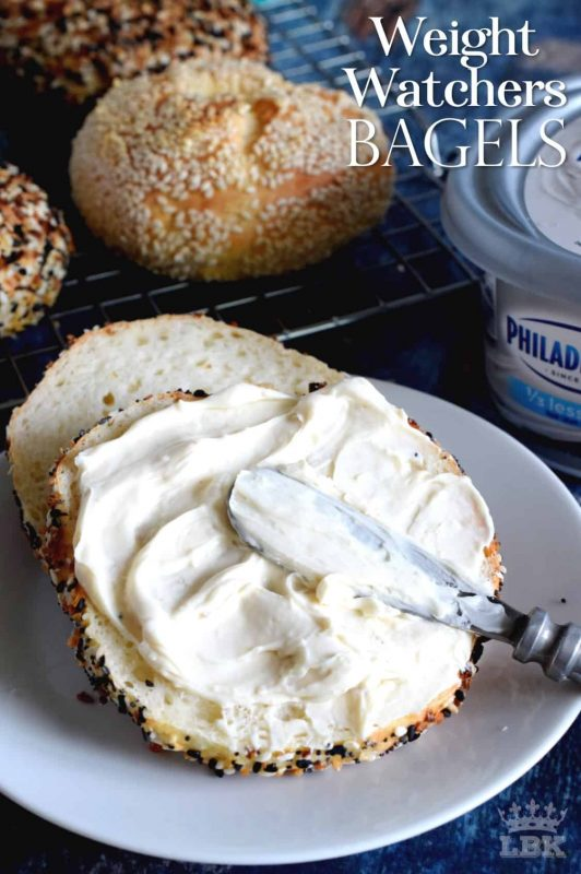 Yogurt and flour is all you need to make these Weight Watchers Bagels! The topping is up to you - everything seasoning, poppy or sesame seeds, or just plain.  Only 3 points per bagel!#WW #smartpoints #weightwatchers #bagels #points