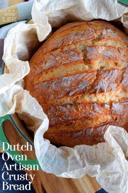 No fancy kneading skills, machinery, or gadgets needed to make this Dutch Oven Artisan Crusty Bread; just good old fashioned patience and a desire for a home style, easy to make bread!#Dutch #oven #crusty #bread #artisan