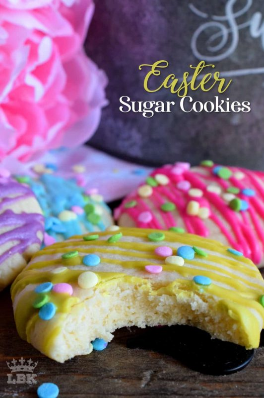 Whimsical and playful, Easter Sugar Cookies are a springtime delight! Easy and fun to make, and great for giving as a gift to that favourite teacher or daycare provider!#Easter #cookies #sprinkles #pastel #colours #candy #melts @wilton