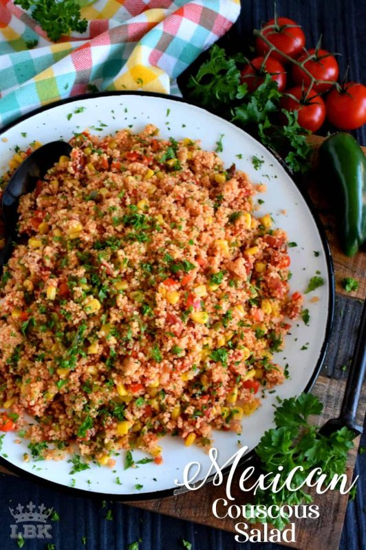 A warm and hearty Mexican Couscous Salad which is great served as a side or even better as a main dish! Make it as spicy or as mild as you want; great served cold too!#Mexican #couscous #salad #pantry #ingredients