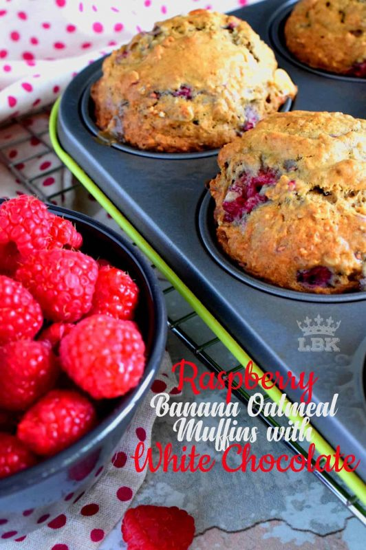 In our home, muffins are considered one of the major food groups, especially if that muffin happens to be Raspberry Banana Oatmeal Muffins with White Chocolate Chips!#raspberries #banana #muffins #oatmeal #chocolate