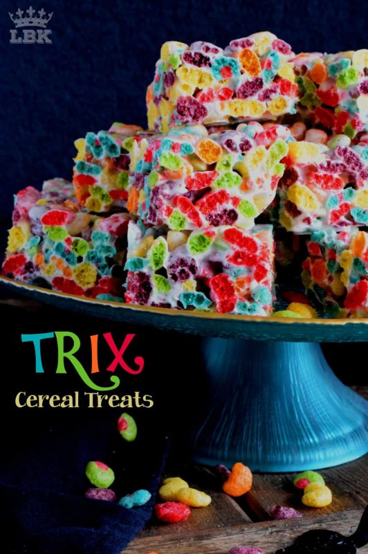 Eye-popping and attention-grabbing, Trix Cereal Treats are the perfect recipe for spending time in the kitchen with children.  These are fun and whimsical, yet easy, delicious, and oh so gooey!#trix #cereal #marshmallow #treats #easter