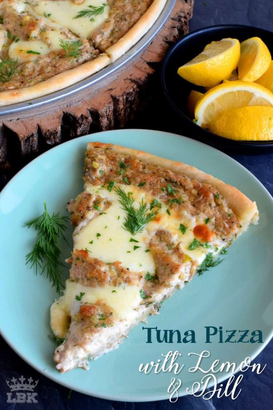 A homemade pizza, topped with tuna salad made with dill and lemon, then baked to perfection with gooey mozzarella cheese; original, unique, and delicious!#pizza #homemade #crust #canned #tuna #dill #lemon #fresh