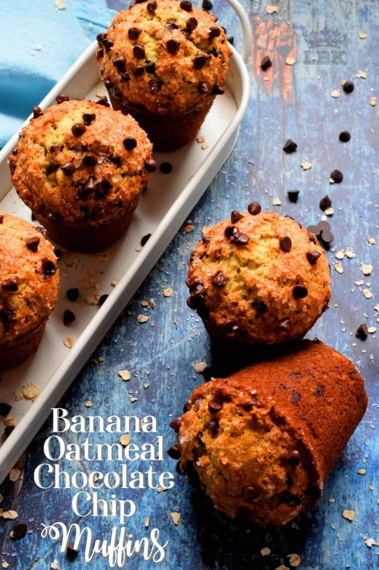 When you enjoy the delicious taste of Banana Oatmeal Chocolate Chip Muffins, you don't need to feel guilty about the chocolate, because you're eating fruit and oats too!#chocolate #chip #oatmeal #muffins