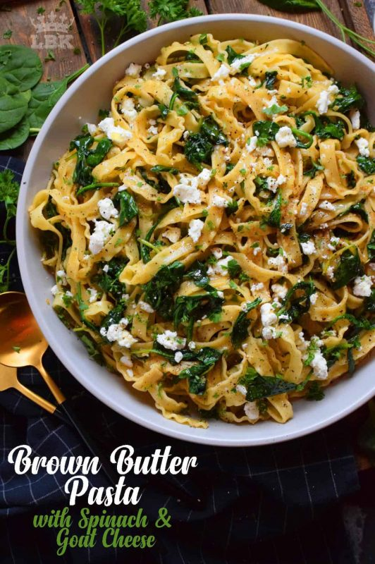 Prepared with humble ingredients, Brown Butter Pasta with Spinach and Goat Cheese has the look and taste of elegance, but is very inexpensive and unpretentious. #brownbutter #brown #butter #goatcheese #spinach #pasta