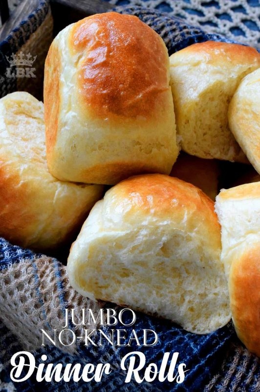 Sometimes, you need to break out the flour and the yeast and make these Jumbo No Knead Dinner Rolls. Because, sometimes the store-bought type just won't do!#noknead #dinner #rolls #bread #white #fluffy #soft #jumbo