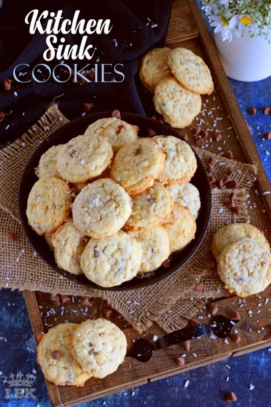 Just like the old expression suggests, Kitchen Sink Cookies have a little bit of everything in them. A great way to use up leftover baking supplies!#kitchen #sink #cookies #freezer #chocolate #nuts #cereal