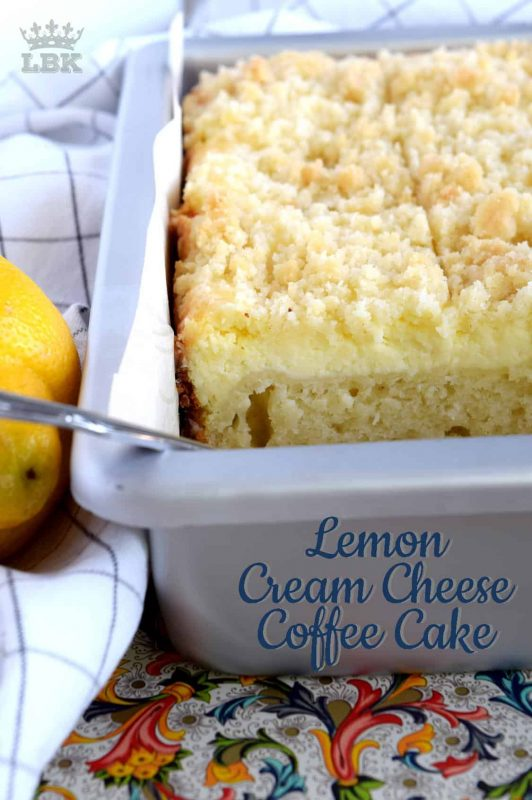 Lemon Cream Cheese Coffee Cake is extra lemony, with a creamy filling and a crumbly topping.  Light, refreshing, and delicious; brew the coffee and invite your friends!#lemon #coffee #cake #cream #cheese #dessert #summer