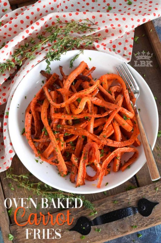 The simplicity of Oven Baked Carrot Fries is what makes them so delicious. Seasoned with  salt, pepper, and baked with fresh thyme, everyone will love these! #carrot #fries #baked #fresh #thyme #roasted #oven