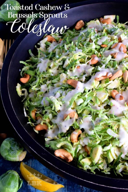 This non-traditional coleslaw consists of uncooked shaved Brussels sprouts which have been tossed with toasted cashews in a homemade tangy and zesty sauce. #brussels #sprouts #coleslaw #salad #raw #toasted #cashews