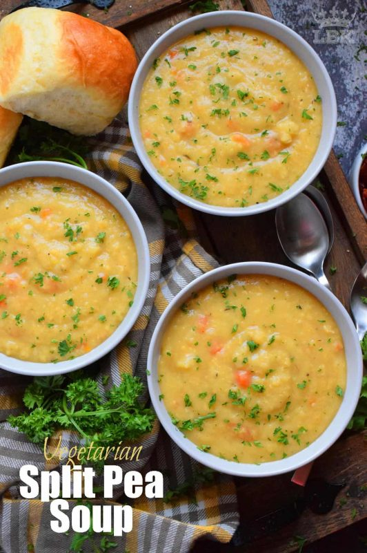 Vegetarian Split Pea Soup is every bit as delicious, wholesome, and nostalgic as the soup your mom made. This is a pantry staple recipe with a few fresh root vegetables. #soup #splitpea #split #pea #dried #yellow #dumplings #vegetarian