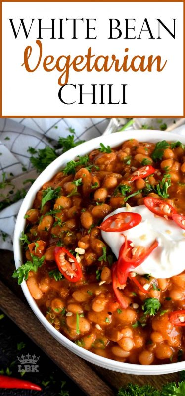 A vegetarian chili that's packed with protein - Spicy White Bean Vegetarian Chili is rustic, easy, and delicious!  Made with lots of fresh veggies and quinoa too!#white #navy #bean #chili #spicy #vegetarian