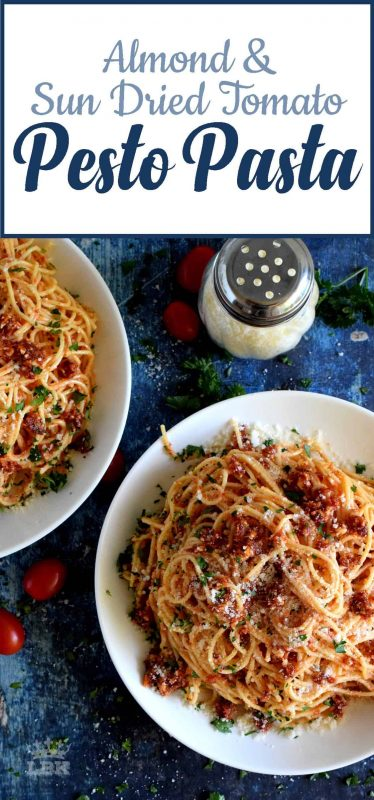 Almond and Sun Dried Tomato Pesto Pasta is simple, easy, and delicious.  And, really, isn't that what good food is all about?#sundriedtomato #pesto #almond #pasta #easydinner
