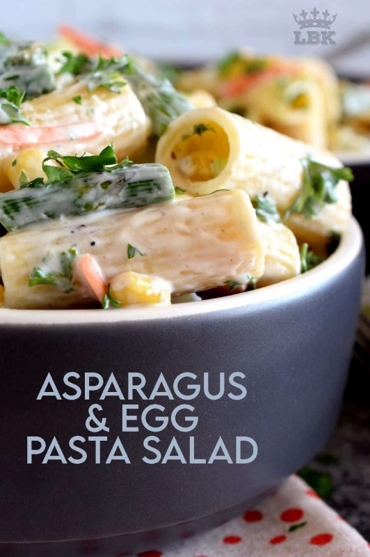Served cold or at room temperature, Asparagus and Egg Pasta Salad is a dish best served in late spring or early summer when fresh asparagus is readily available.  Bring this dish to your next picnic or potluck and you'll surely be the belle of the ball!#asparagus #egg #salad #pasta #fresh #picnic #summer #potluck