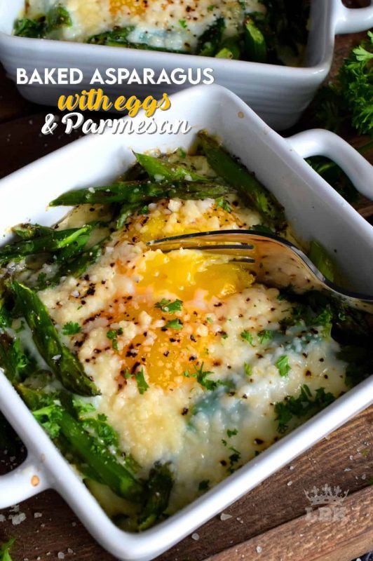 Simple, hearty, and delicious; individual portions make these Baked Asparagus with Eggs and Parmesan easy to serve and a little elegant too!#baked #asparagus #egg #parmesan #brunch