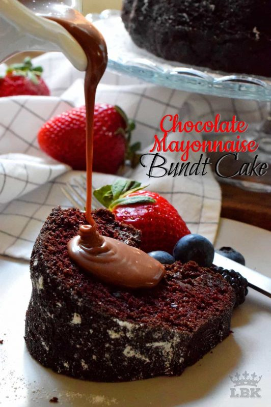 This has to be the easiest and most frugal cake recipe! Chocolate Mayonnaise Bundt Cake is very moist with a fudge-y center. Yet, the cake is still light and fluffy too! #chocolatecake #mayonnaise #mayo #chocolate #cake #bundt #bundtbakers