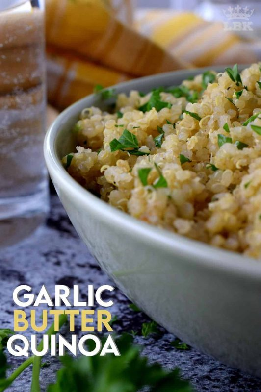 This recipe recreates the flavours of garlic bread without the bread.  Garlic Butter Quinoa is a fast main or side dish option that's got all the flavour of garlic bread with the healthiness of quinoa.#garlic #butter #quinoa #sidedishes #vegetarian