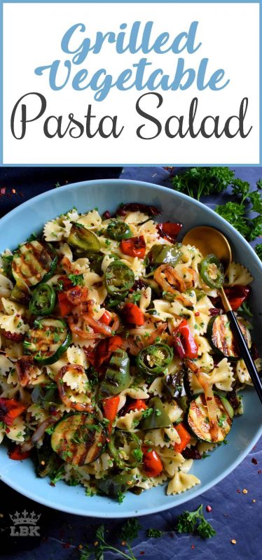 Perfectly charred bell peppers, onions, jalapenos, and zucchini help to make up this Grilled Vegetable Pasta Salad.  Tossed with a simple homemade dressing, it's a perfect summer side!#grilled #vegetable #veggies #pasta #salad #summer #side #picnic #backyard