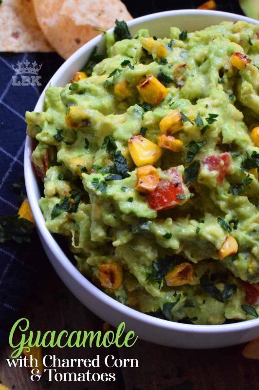 Everyone loves guacamole; it's all the rage! Plain is fine, but why settle for ordinary when you can make extraordinary Guacamole with Charred Corn and Tomatoes? Break out the chips, this dip is ready!#guacamole #charred #corn #tomatoes #guac #dip