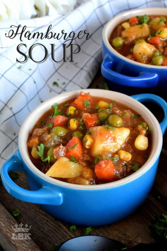 Hamburger Soup is thick and chunky and uses absolutely no fillers. This soup is all beef and all vegetables; it's also family and budget friendly!#hamburger #ground #beef #soup #stew #family #recipes