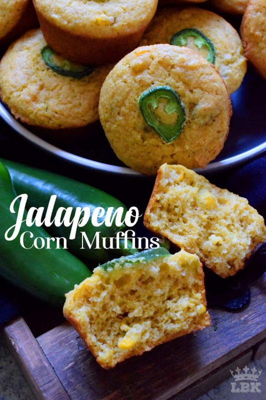 Super light and extremely delicious, Jalapeno Corn Muffins are the perfect accompaniment to soups and chilies.  Made with corn, cornmeal, buttermilk and butter, what's not to love?#corn #cornbread #muffins #cornmeal