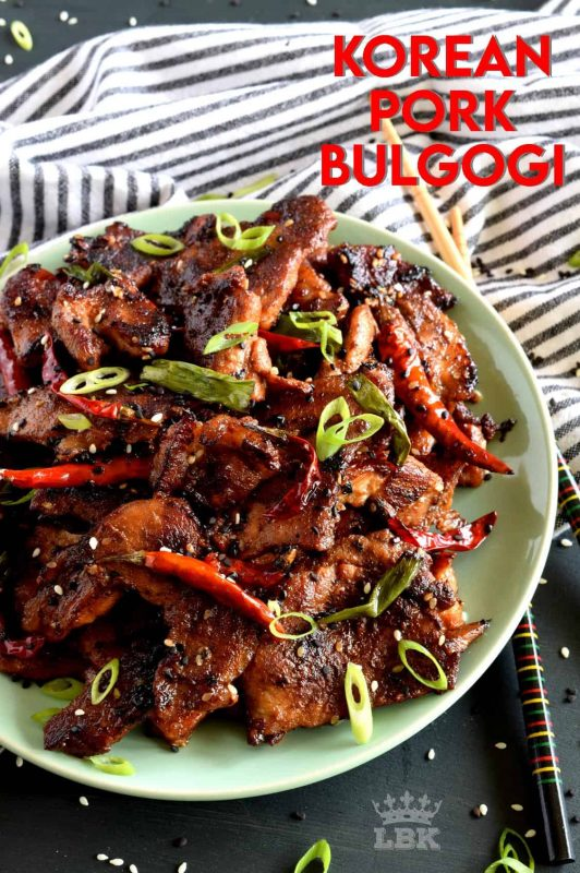 Thinly sliced, marinated cuts of pork, pan-seared to perfection. Tender, moist, spicy, and full of flavour. Pork never tasted so good!#Korean #recipes #pork #bulgogi #spicy