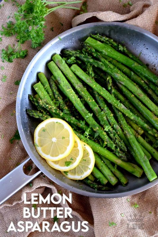 Lemon Butter Asparagus is as simple as it gets - gently sauteed asparagus in a little butter with lemon juice and zest. Bright and refreshing; a perfect spring and summer side! #asparagus #fresh #saute #skillet #lemon #butter #fried