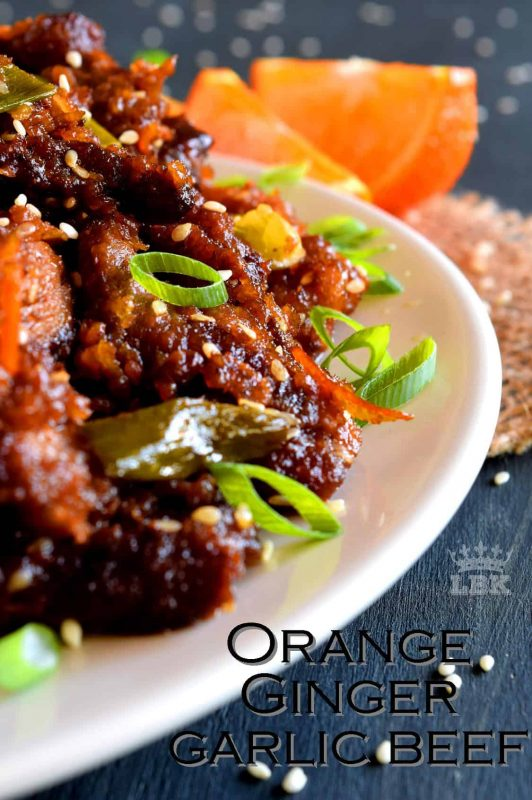 Orange Ginger Garlic Beef is a take-out inspired dish with so much flavour by using just a few fresh ingredients. The homemade thick orange sauce delicious!#orange #beef #crispy #fried #sauce #ginger #garlic