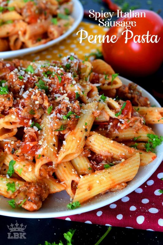 Prepare your next pasta dish with pork, like this Spicy Italian Sausage Penne Pasta dish, and reinvent pasta night!  A spicy tomato sauce, with peppers and onions, and lots of dried chilies, is simple and rustic, but so delicious!#penne #pasta #italian #sausage #spicy