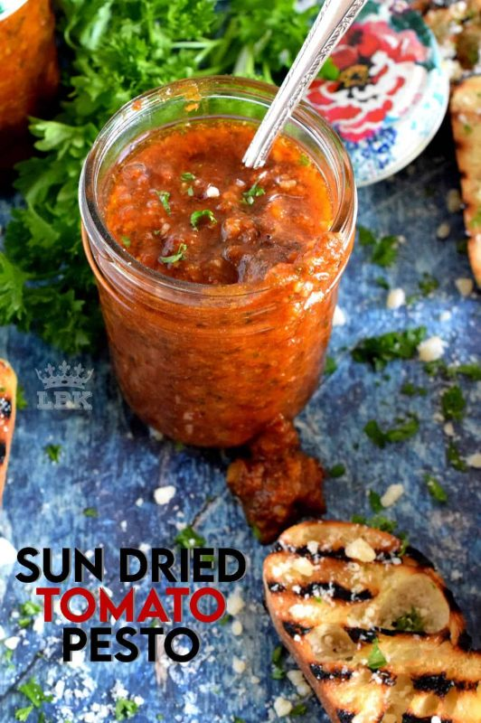 Homemade Sun Dried Tomato Pesto is so much better than store-bought.  Use good olive oil, fresh basil and real parmesan cheese for best results!#sun #dried #sundried #tomato #pesto #basil #fresh #homemade