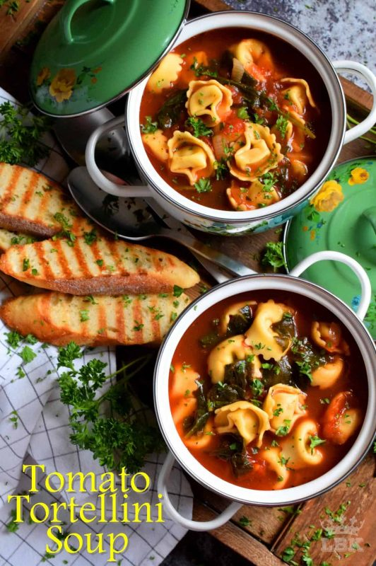This soup is a complete meal!  It's filling, it's hearty, and it's completely delicious!  Tomato Tortellini Soup is a wholesome and nutritious meal made easy!#pasta #tortellini #soup #tomato #familydinner