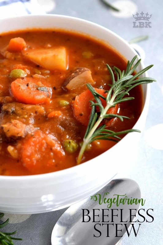 Substituting stewing beef with chunky mushrooms is a great way to make Vegetarian Beefless Stew. It's so delicious and so hearty, everyone will love it - even the meat lover in your family!#vegetarian #beefless #meatless #beef #stew #soup