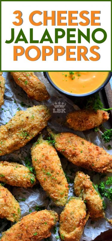 3 Cheese Jalapeno Poppers are stuffed with 3 types of cheese and bold herbs and spices. Next, it's coated in a light breadcrumb mixture, and then deep fried to perfection! #jalapeno #poppers #3cheese #deepfried #crispy #appetizer